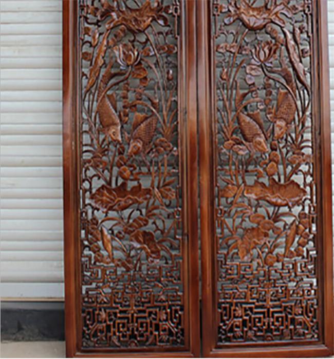 供应丰鑫木雕仿古实木门窗 榆木中式背景墙图片