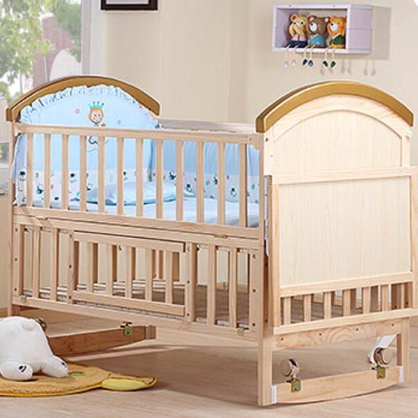 WBB228实木无漆宝宝BB床摇篮床  超大置物台