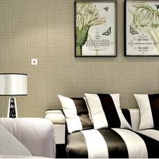 供应 现代简约素色无纺条纹墙纸3D酒店电视背景墙格子装修壁纸