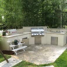 Mr.Tong 花园餐厅 转角型高贵全大理石花园厨房 户外烧烤台G31004