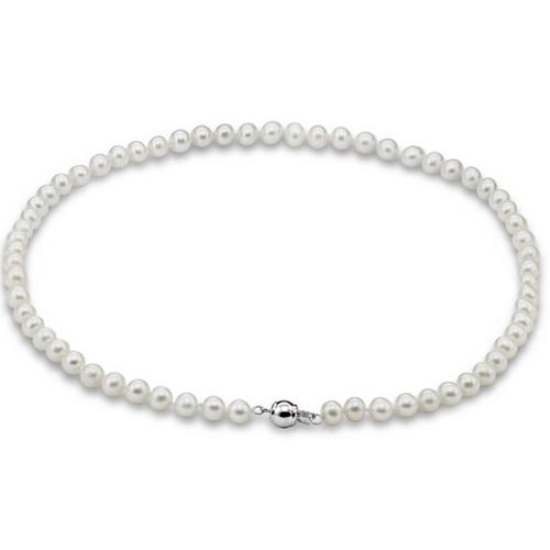 供应 A**强光天然淡水珍珠项链正品 近正圆 秀气 S925纯银扣