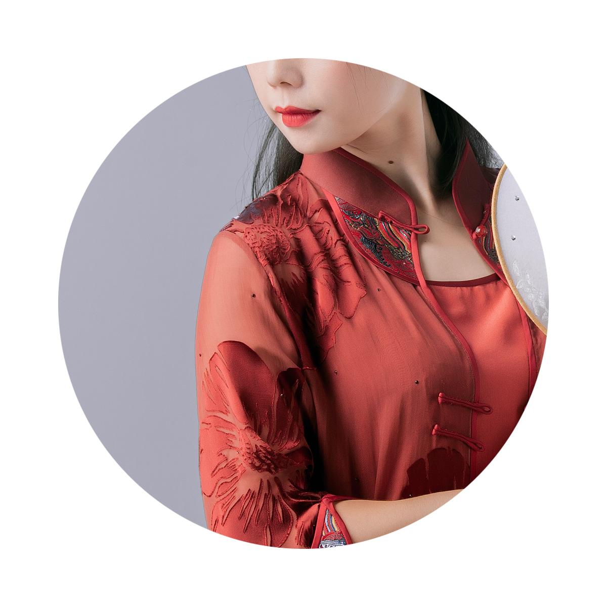 锦时工坊旗袍服装定制 暗彩流光  真丝烂花绒真丝双绉三件套