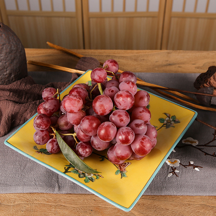 供应新中式现代创意方形挂盘纯手绘家居日用陶瓷大水果盘干果盘装饰品