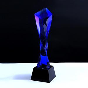 厂家高端定制水晶奖杯新款火焰扭柱水晶奖杯企业颁奖创意奖杯