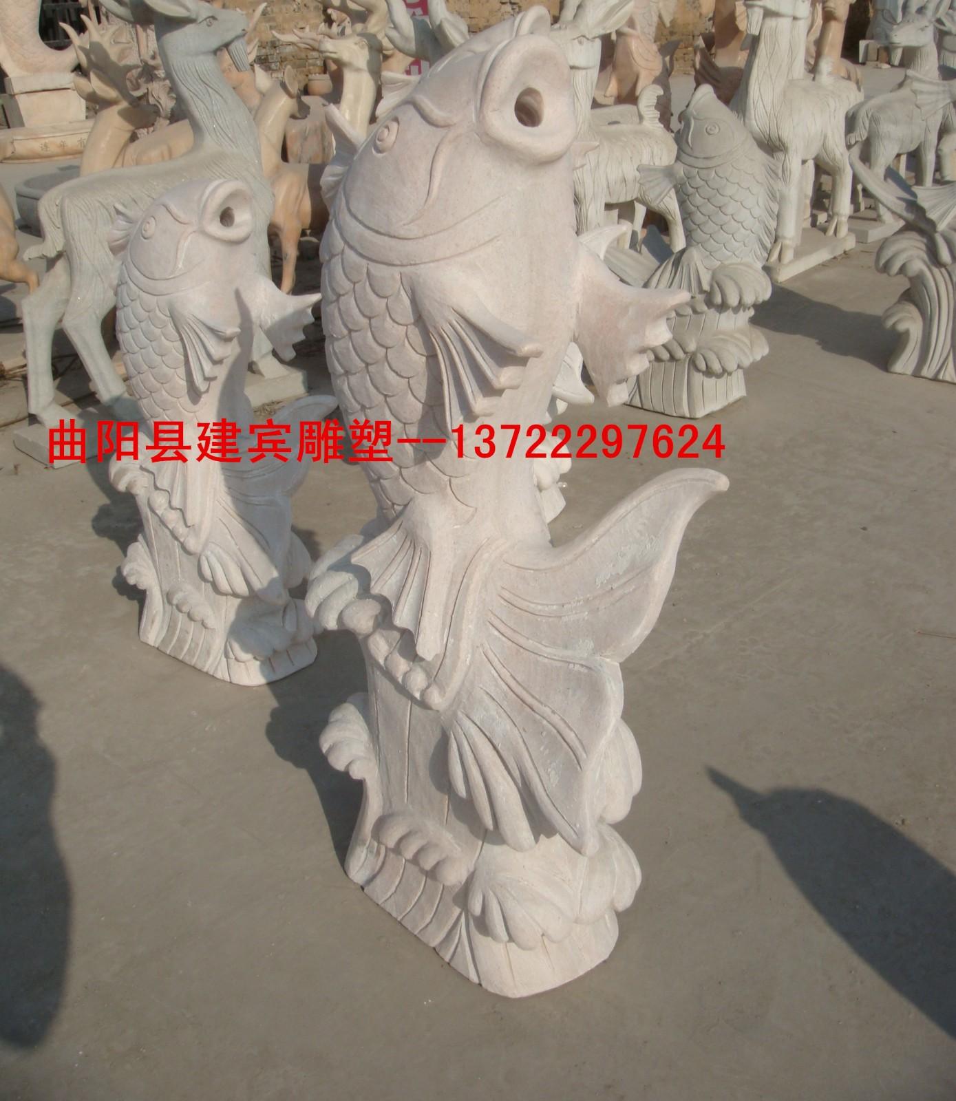 供应曲阳石雕喷泉 大理石喷水鱼 室外喷泉 家居别墅喷泉雕塑