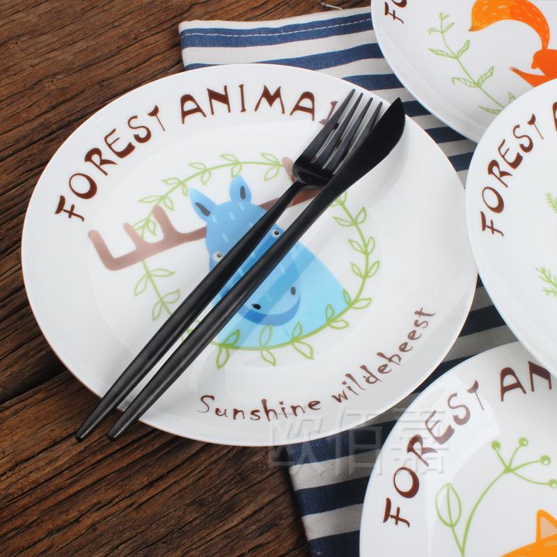 北欧风格创意陶瓷骨瓷西餐盘子欧式外贸餐具可爱卡通动物牛排餐盘