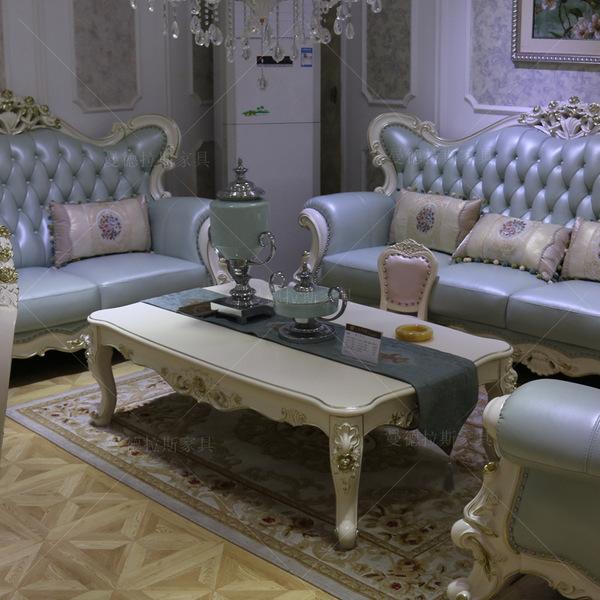 欧式长茶几 美式奢华白色茶台 田园小方几 客厅茶水桌 木面雕花桌图片