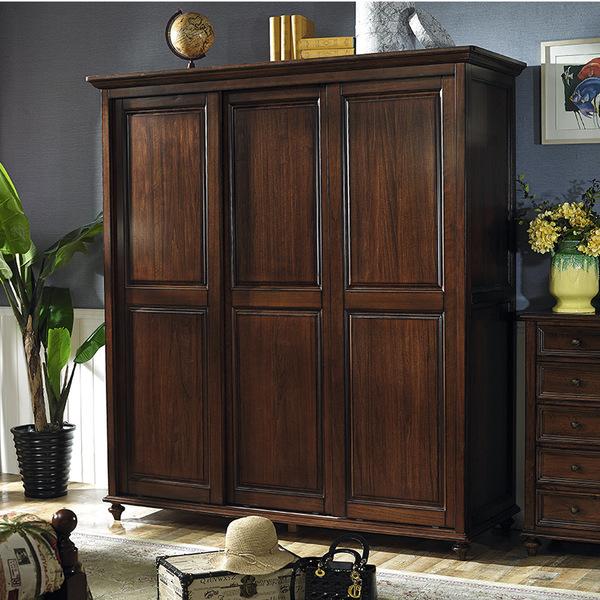 yg-4美式实木衣柜4门美式乡村衣柜组合复古做旧可定制图片
