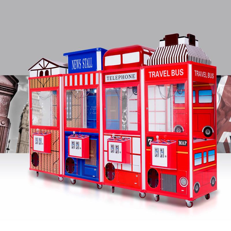 超市商场抓娃娃机抓烟机投币游戏机夹公仔机一体机自动礼品售卖机英伦风