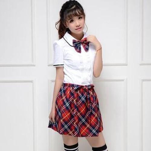 英伦学院班服学生装校服jk制服短袖白衬衫女款夏套装
