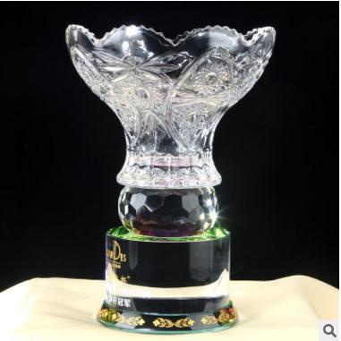 浦江高尔夫水晶花瓶奖杯定做定制欧式一杆进洞冠军高档木质礼盒纪念品
