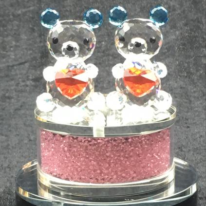 相亲相爱欢乐水晶熊 同源文化定制生日礼品 爱人礼品 情人节礼品 水晶定制