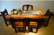 中式老船木茶桌椅老船茶台实木海螺型厚板大龙骨茶桌厂家直销