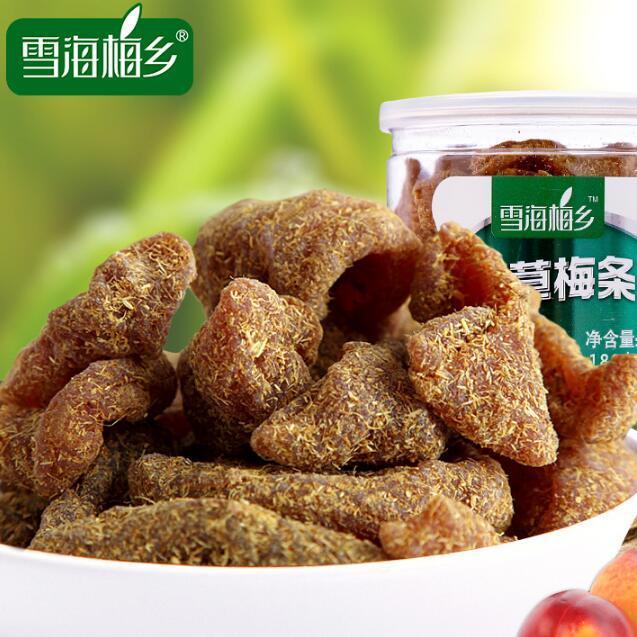 雪海梅乡_甘草梅条180g易拉罐 话梅肉制品开胃酸零食 果干休闲