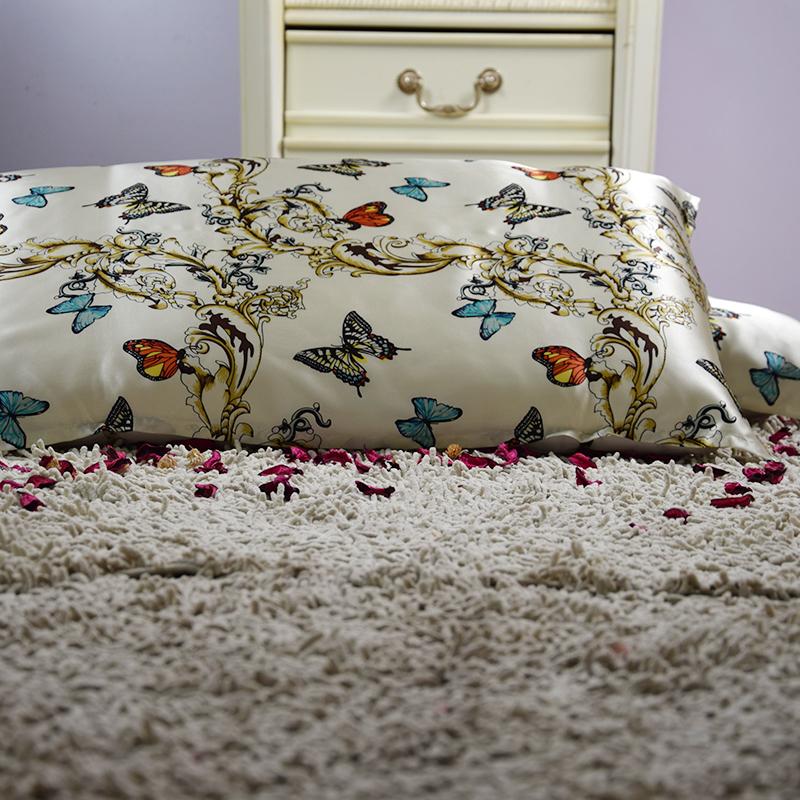 【飞米转刍】依格尔 真丝枕巾枕套 100%桑蚕丝绸系带单面单只枕头套 四季单人枕芯套50×76cm