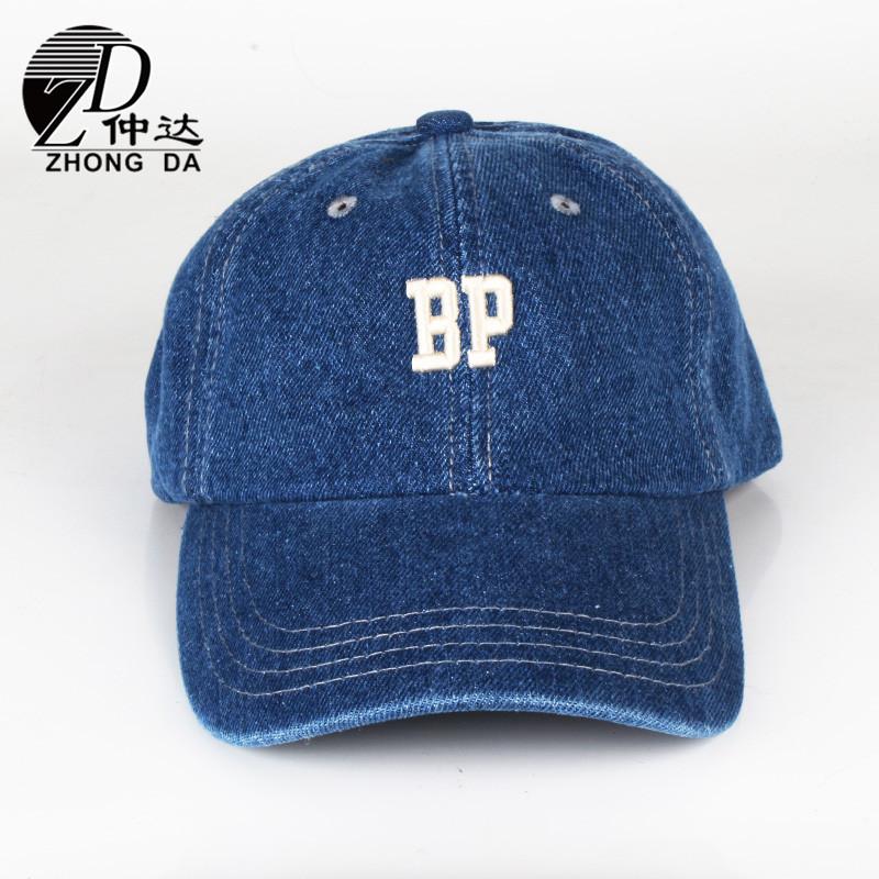 棒球帽厂家定做 牛仔布立体刺绣男女鸭舌帽 洗水运动遮阳帽