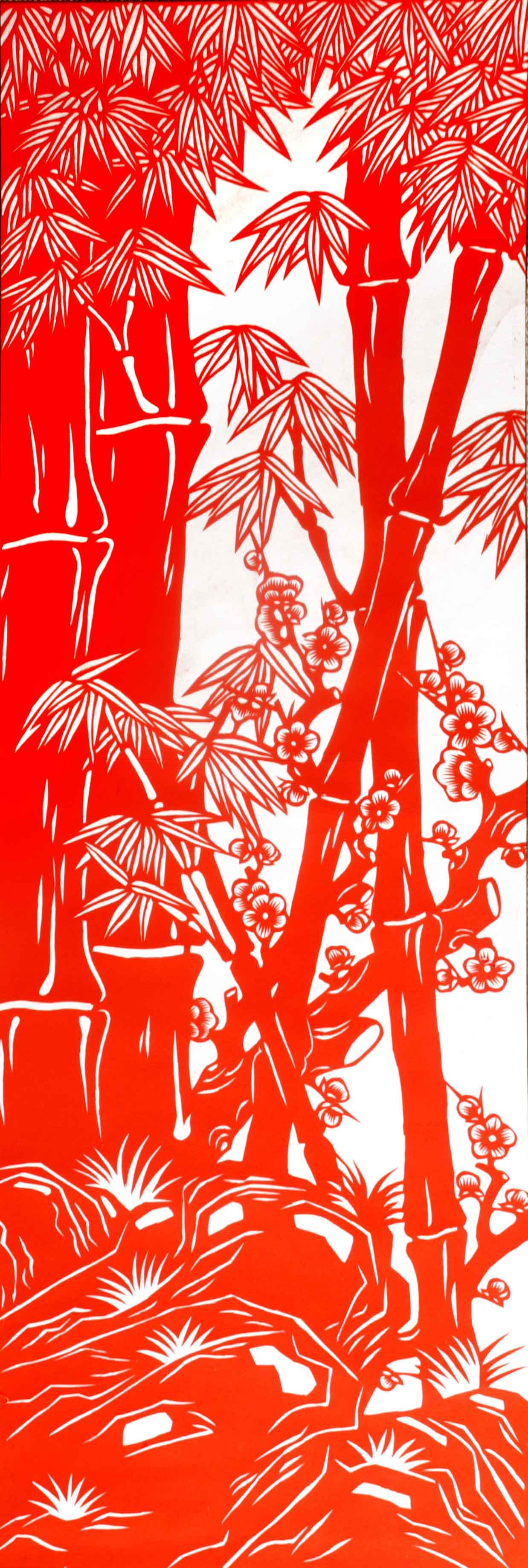 安塞民间艺术品 《竹梅报春》 纯手工剪纸 88*30cm 造型美观,剪工精致