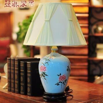 欧式陶瓷台灯手绘创意简约现代卧室床头家居台灯具