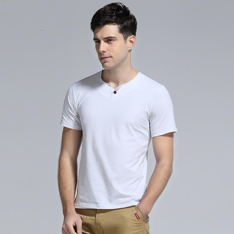 2016新款男款纯色短袖纯色t恤修身半袖v字领t恤衫男装潮流打底衫