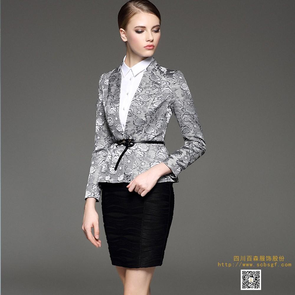 女士时尚西装 成都西装定制 四川定制职业装上门量体 单排扣翻领西服套装 接受个人高级定制