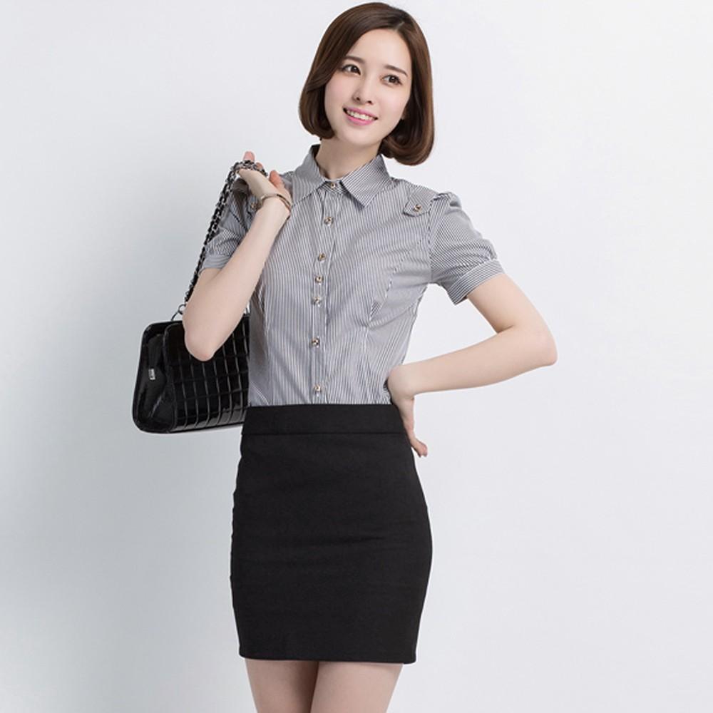 条纹女士时尚衬衫 职业装黑色条纹衬衣 女士短袖衬衫定做 厂家直销 售后无忧
