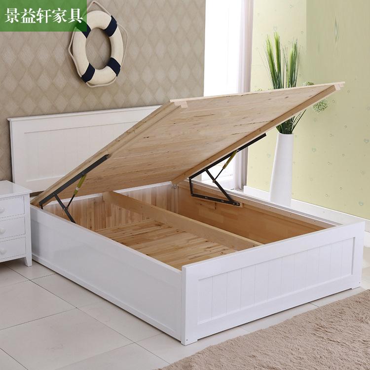 厂家直销欧式实木松木床储物气压高箱床卧室实木婚床定制促销包邮图片