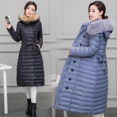 2016年冬装羽绒服女加长款大毛领韩版加厚修身中长显瘦大码外套