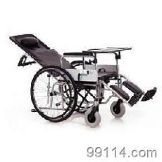 互邦轮椅铝合金高靠背全躺带餐桌