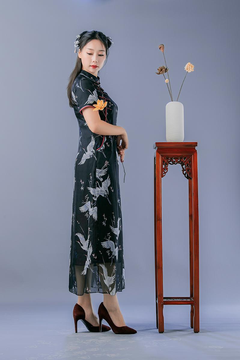 锦时工坊 鹤舞九天  真丝雪纺改良中式风连衣裙 旗袍