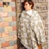 现货  专柜正品豹纹提花女士羊毛围巾披肩两用秋冬厚斑马纹保暖羊绒围脖