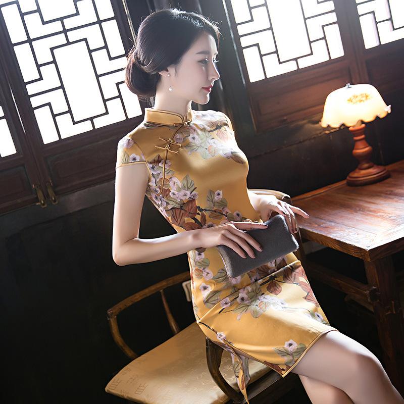 2017夏季新款日常旗袍黄色中款真丝琪袍裙短袖立领时尚中式礼服