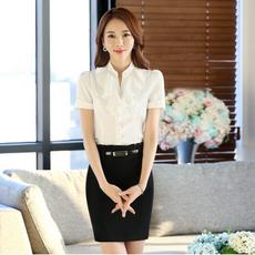 夏季新款白色衬衫女短袖修身 职业装大码工作服韩版女士衬衣