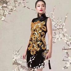中式名族风连衣裙旗袍高档真丝桑蚕丝长袖偏年轻的旗袍批发民族衣 定制 黑色旗袍