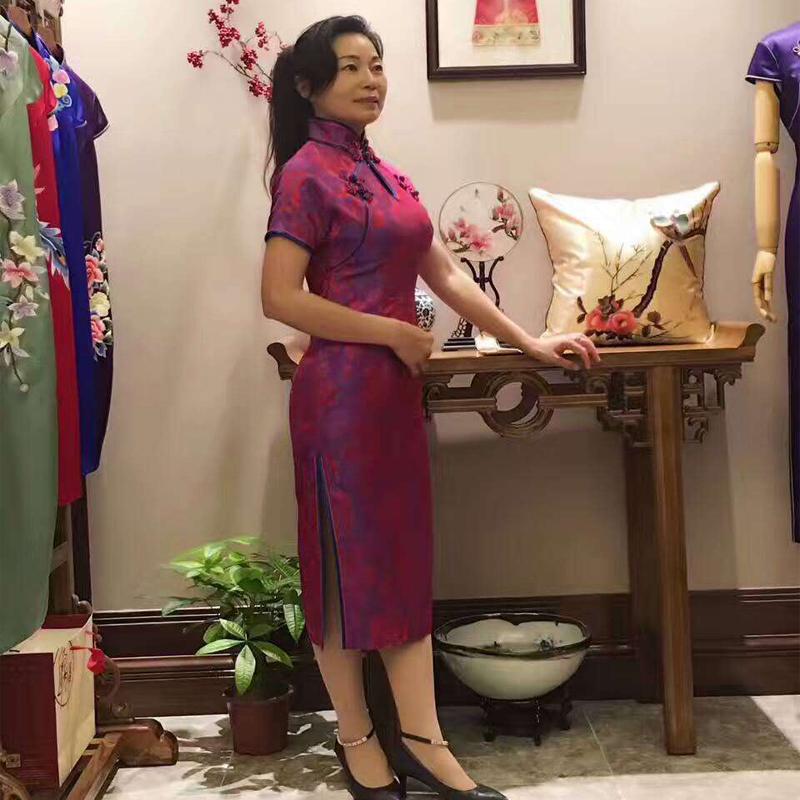 中式名族风连衣裙旗袍高档真丝桑蚕丝长袖偏年轻的旗袍批发定制旗袍