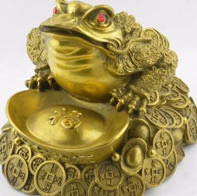 供应 开光纯铜元宝金钱蟾工艺品铜雕家居装饰**摆件