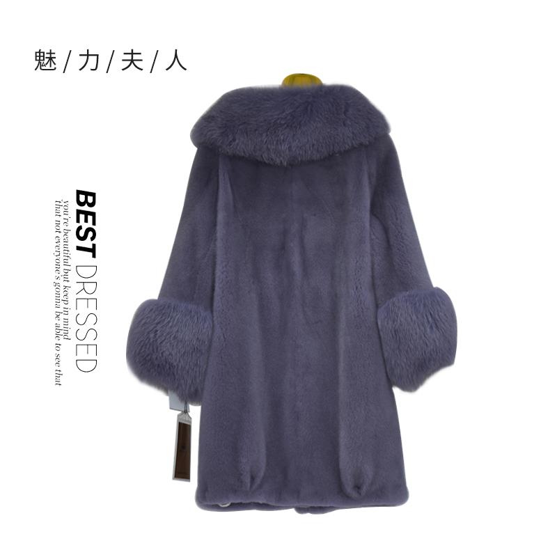 紫色进口天鹅绒水貂狐狸毛领狐狸毛袖女士大衣