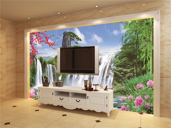 环保无缝壁画墙纸电视背景墙电视背景墙无缝墙布无框