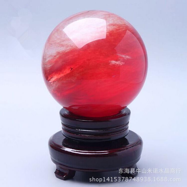鸿运风水球财源滚滚红色熔炼水晶球镇宅鸿运当头有球必应