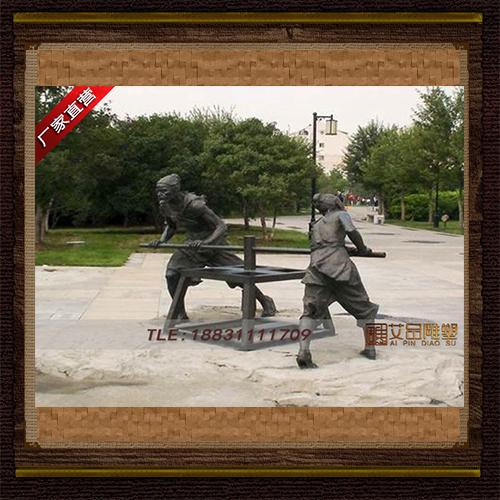 人物推磨铜雕塑 红军景观区雕塑 大型人物铜像 定制铜雕实体厂家