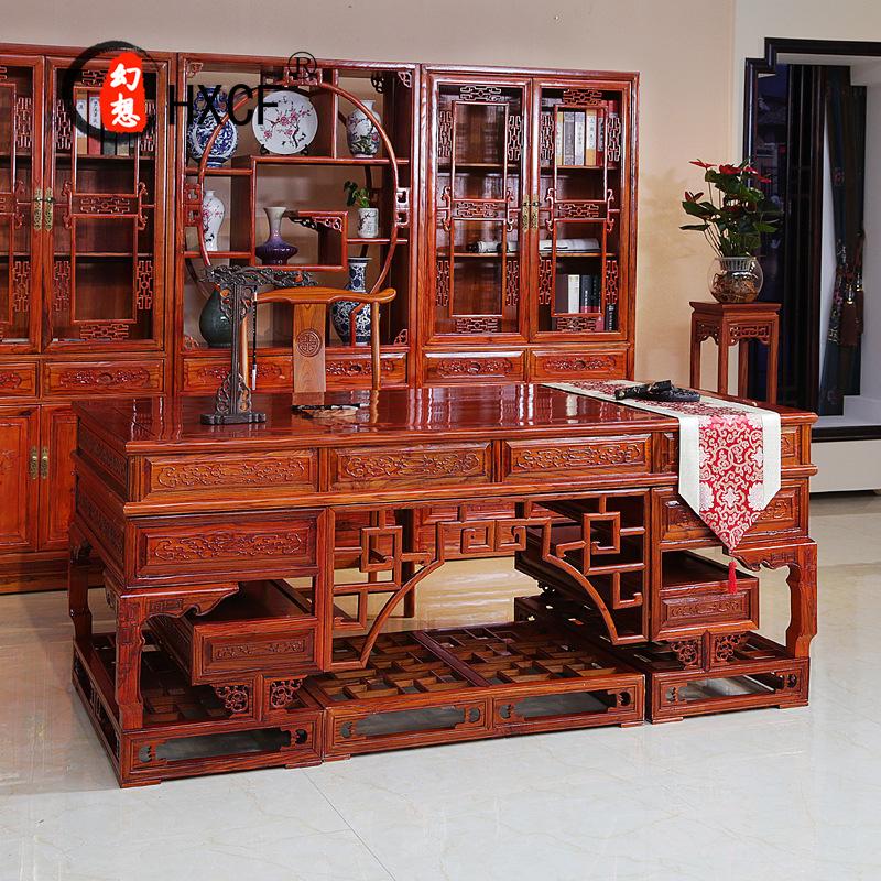 中式实木仿古写字台 古典榆木电脑桌 2米书桌明清仿古实木家具图片