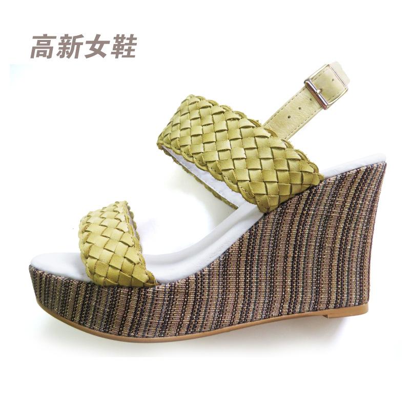 2016年新款防水台纯手工编织真皮坡跟凉鞋女鞋欧美高跟女单.