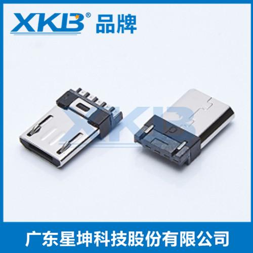 供应台湾星坤MICRO 5P 沉板公头 贴片式 无卡勾 两脚 插板 加强固定 USB连接器