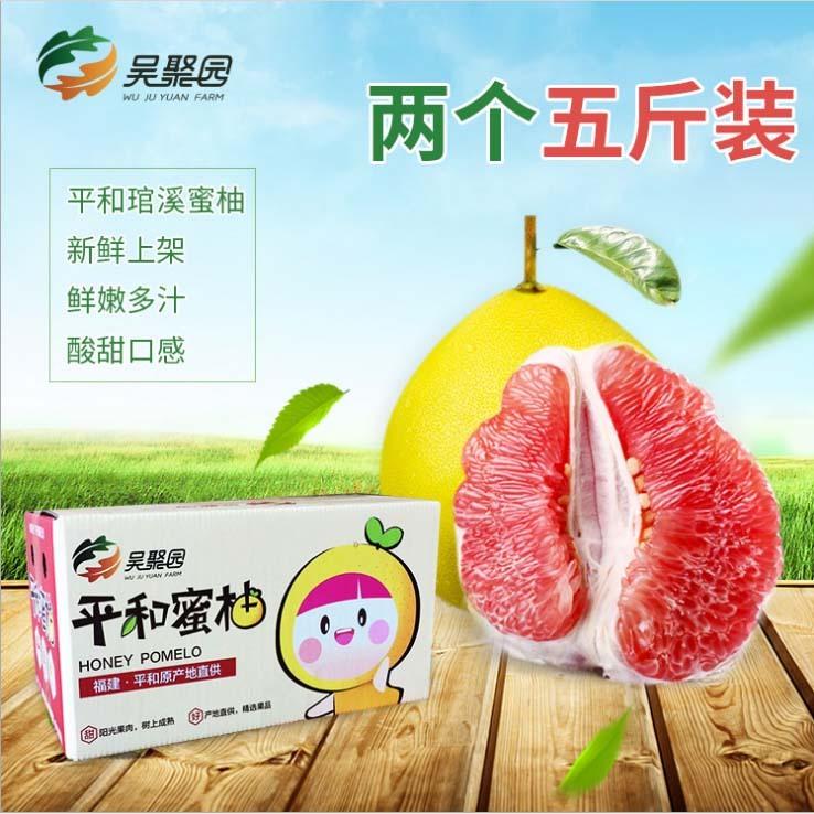 平和蜜柚新鲜水果批发 红心蜜柚2个5斤礼盒装柚子之乡果园直销图片