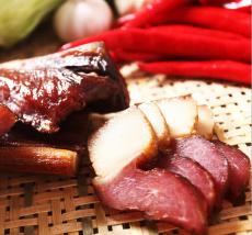 湖南特产安全零添加农家烟熏腊肉 腊后腿肉500g