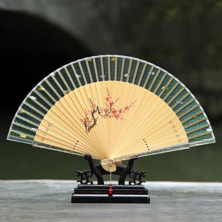 新款水晶柄竹工艺扇 女士折叠扇子 手绘真丝扇 杭州真丝扇子工艺品