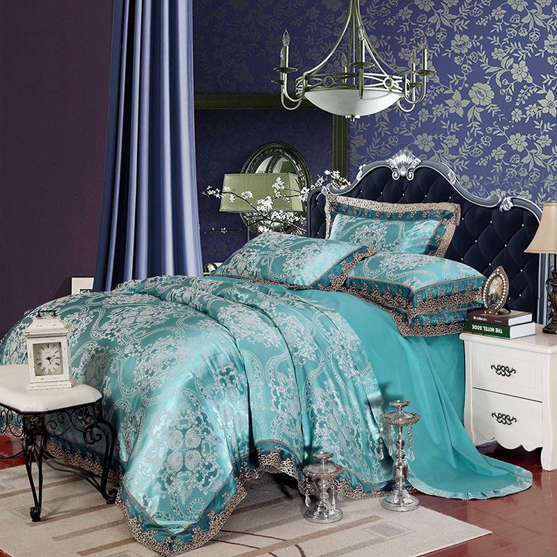 厂家直销蝉丝贡缎提花套件 贡棉床上用品四件套
