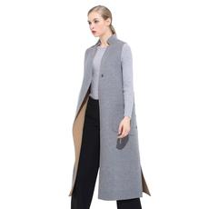 戴瑞斯 新品 长款坎肩立领直筒修身显瘦百搭双面女士羊绒呢大衣