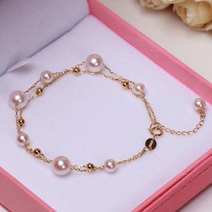 中国珍珠海水珍珠批发金 akoya 日本 海水珍珠手链白色串 多双层