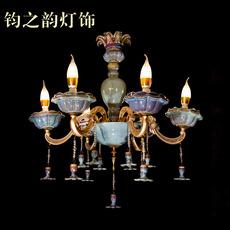 欧式 大气炉钧釉钧瓷吊灯 客厅卧室餐厅时光6头灯饰