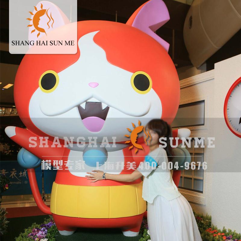 上海升美卡通招财猫玻璃钢雕塑户外树脂模型动物商